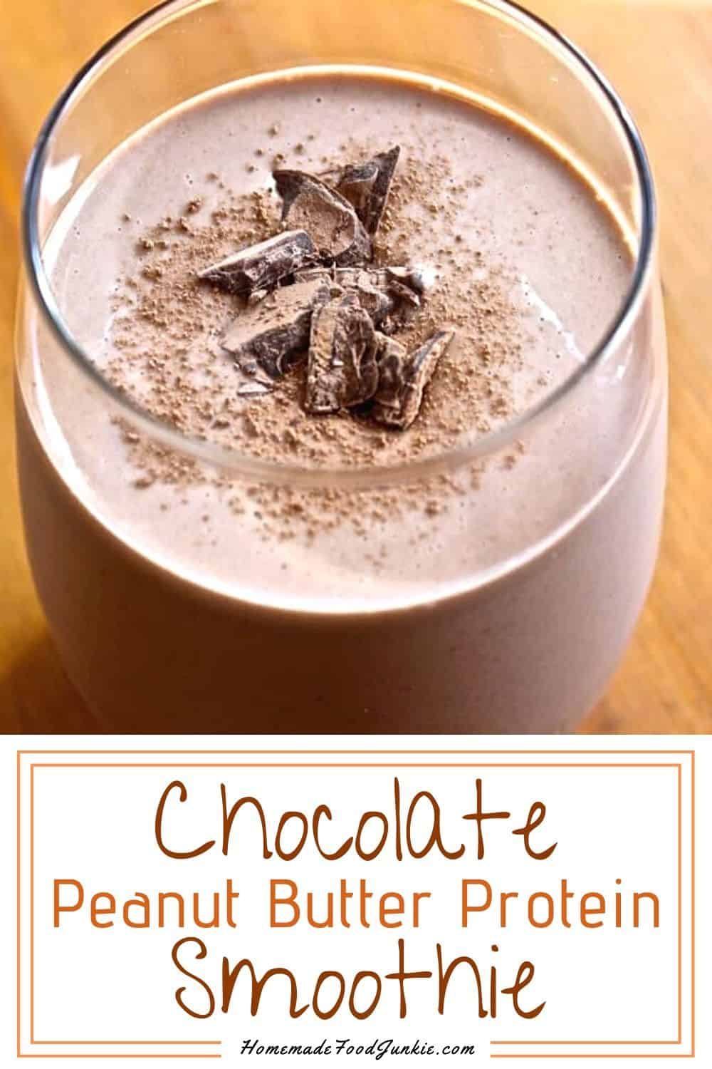 Chocolate peanut butter smoothie-pin image