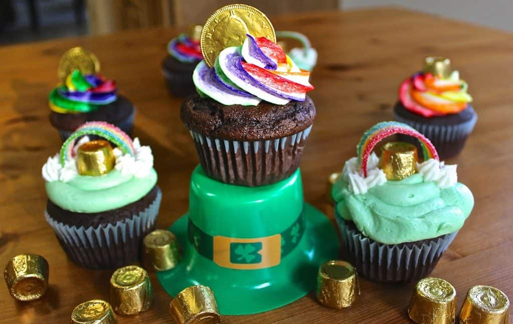 Rainbow and Mint Buttercream Guiness Cupcakes for St Patricks Day