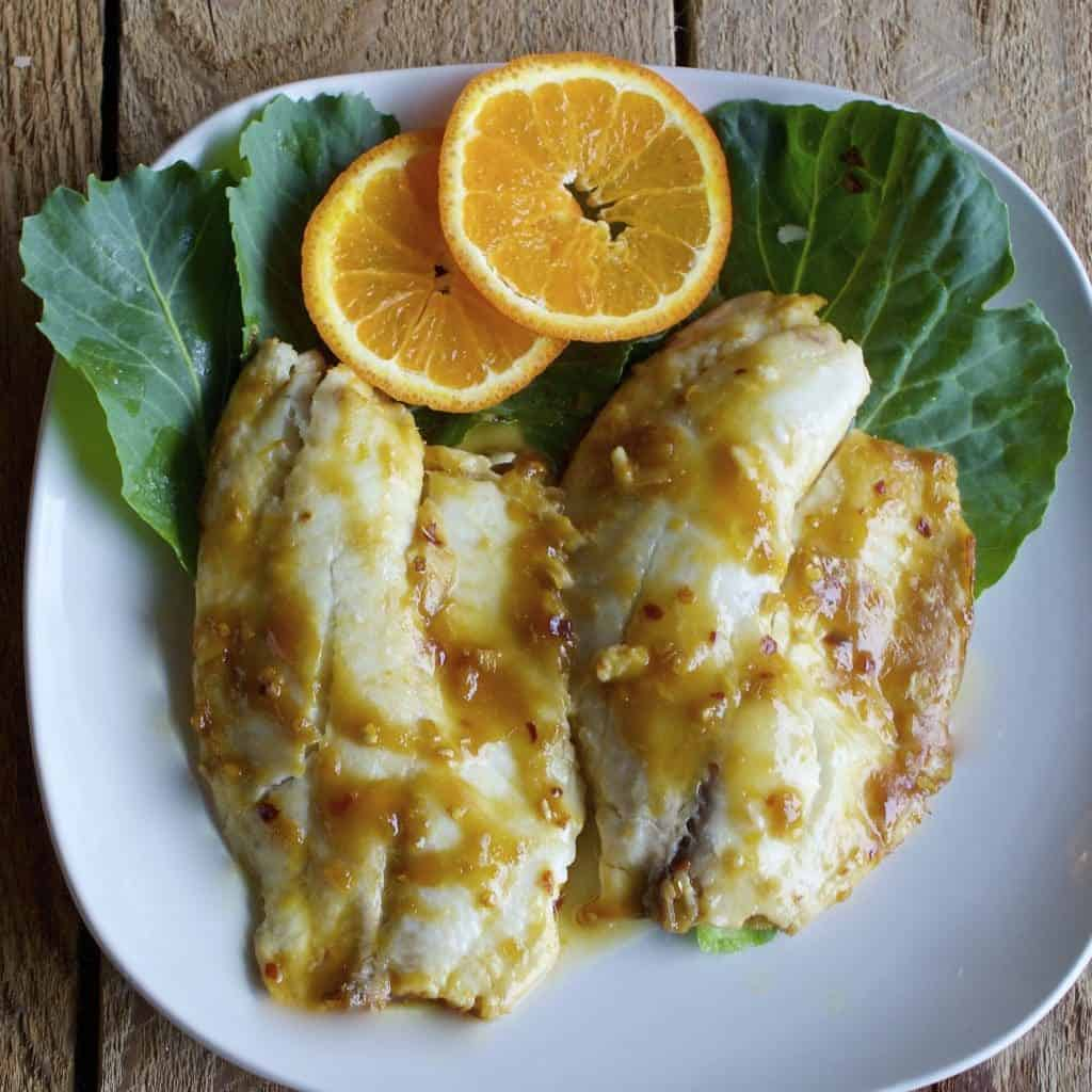 Baked Tilapia in Asian Orange Sauce