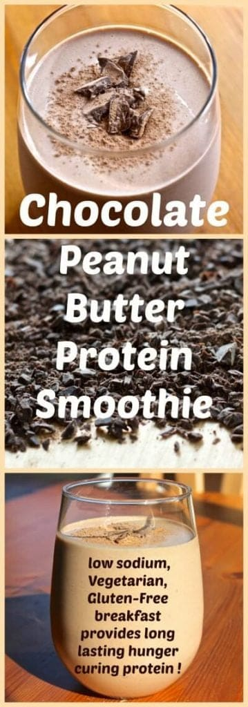 Chocolate Peanut Butter Protein Smoothie. A low sodium, Vegetarian, Gluten-​Free breakfast provides long lasting hunger curing protein to help keep you full and in fighting form! Http://HomemadeFoodjunkie.com