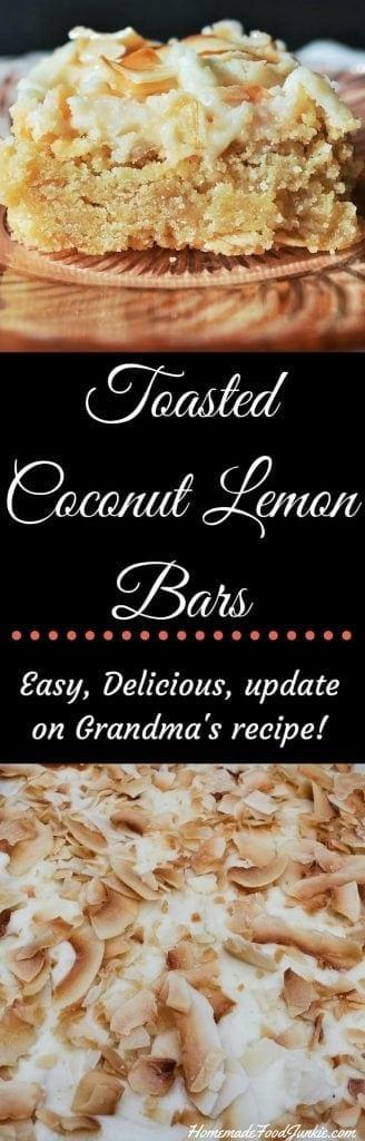 Toasted Coconut Lemon Bars A low Sodium update on Grandma's Recipe! http://HomemadeFoodjunkie.com