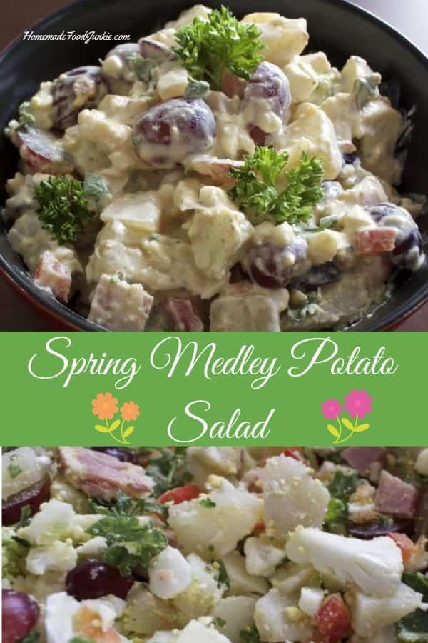 Spring Medley Potato salad is full of nutrition and has reduced calories over a traditional potato salad. #potatosalad #salad #saladrecipe