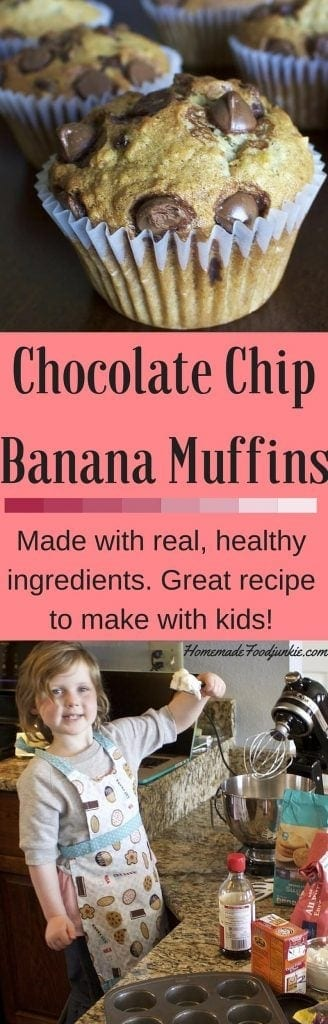 Chocolate Chip Banana Muffins Made with healthy real ingredients. Kids love to help! http://HomemadeFoodJunkie.com