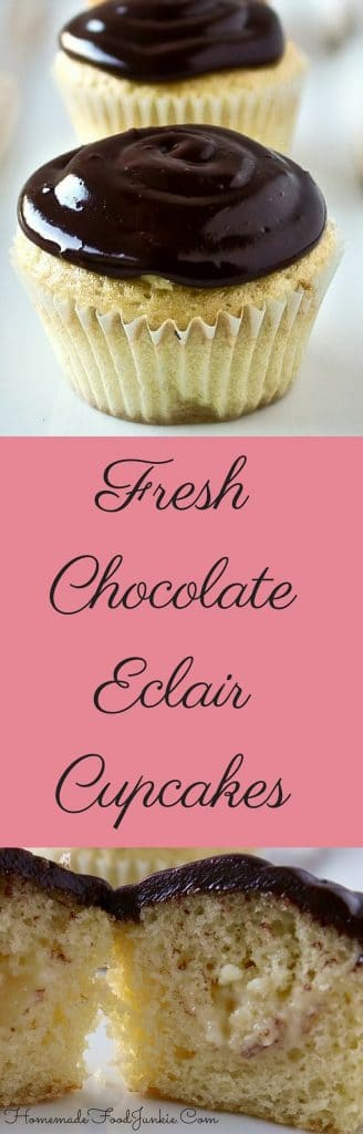 fresh Chocolate Eclair Cupcakes Simply elegant! Made entirely from scratch by http://Homemadefoodjunkie.com