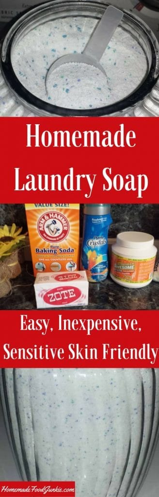 Homemade Laundry Soap is inexpensive to make and easy to adjust to your family needs. #homemadefoodjunkie.com #laundrysoap #powderedlaundrysoap #homemadelaundrysoaprecipe #DIYlaundrysoap