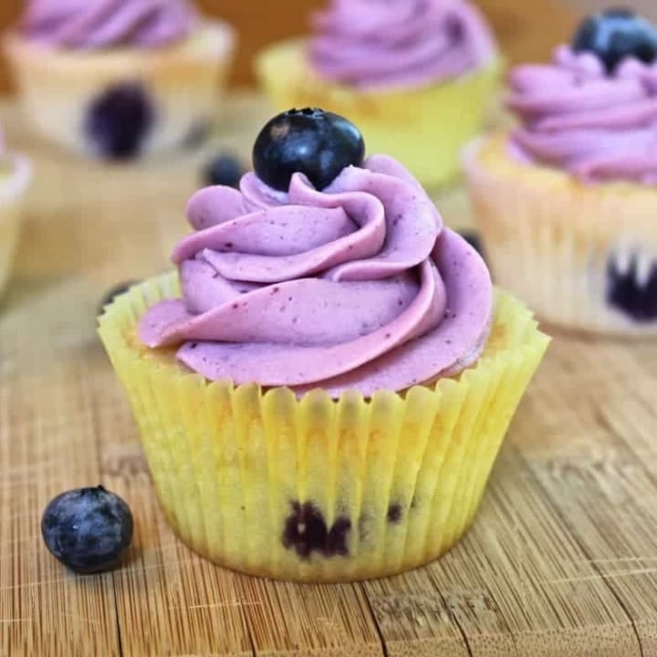 Delicious Blueberry Lemon Cupcakes with Blueberry Frosting. mde entirely from scratch! http://Homemadefoodjunkie.com