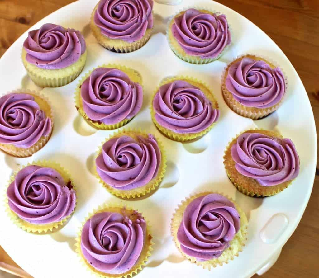 Delicious Blueberry Lemon Cupcakes With Blueberry Frosting Made Entirely From Scratch! Http://Homemadefoodjunkie.com