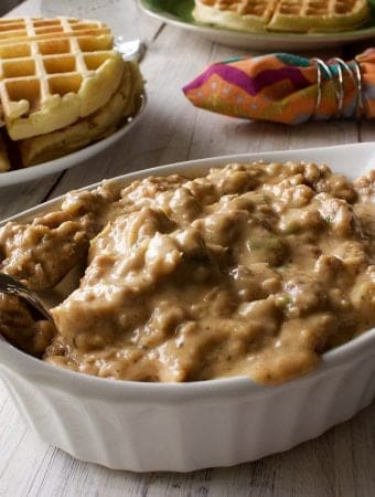 Savory waffles and gravy