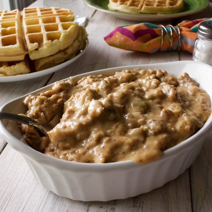 Savory waffles and gravy
