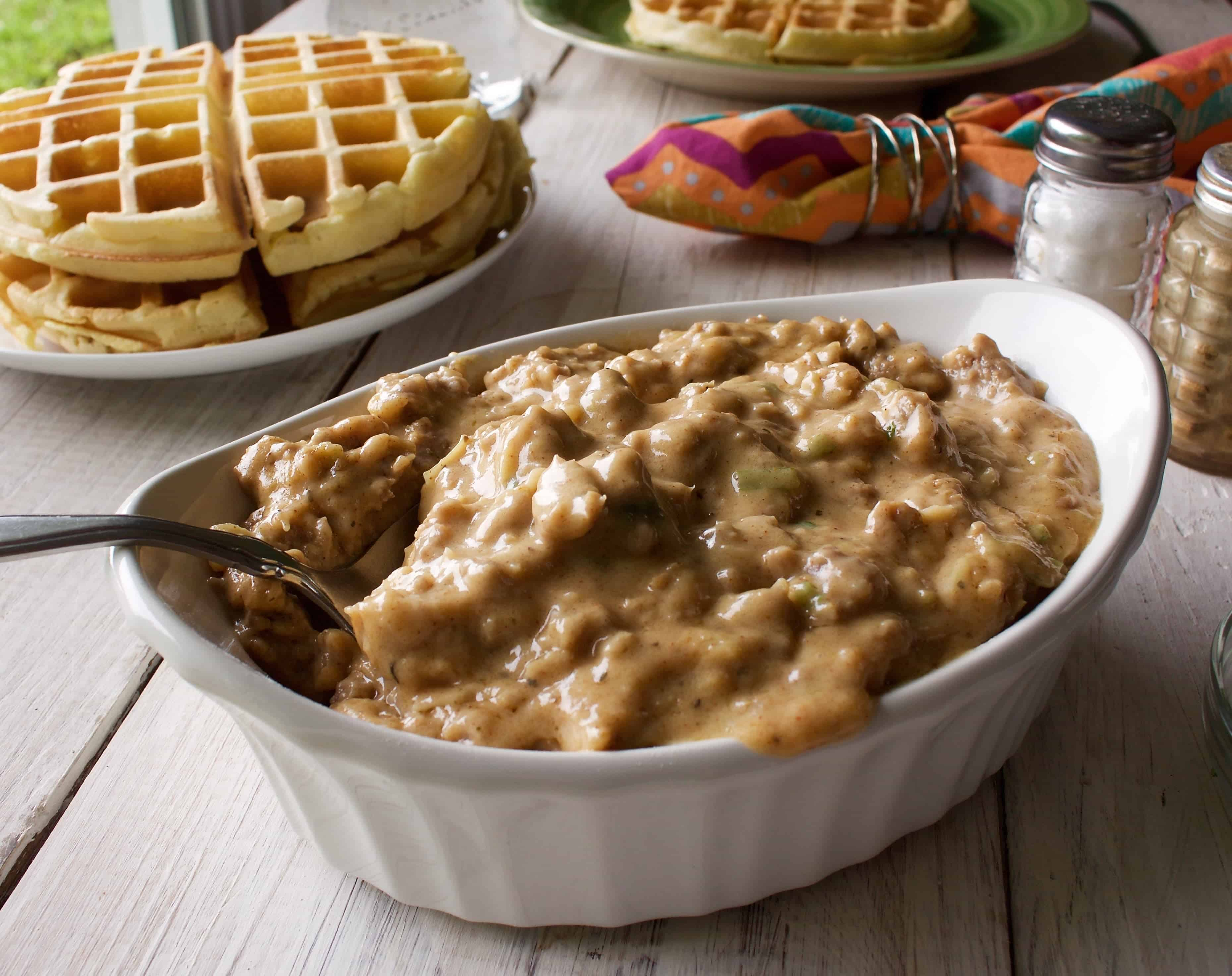 Waffles and Sausage Gravy