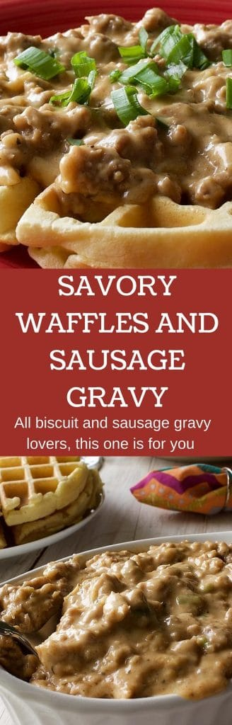 SAVORY WAFFLES AND GRAVY A hearty breakfast or dinner. Great for a crowd! Post is linked to a natural brand of sausage Http://HomemadeFoodjunkie.com