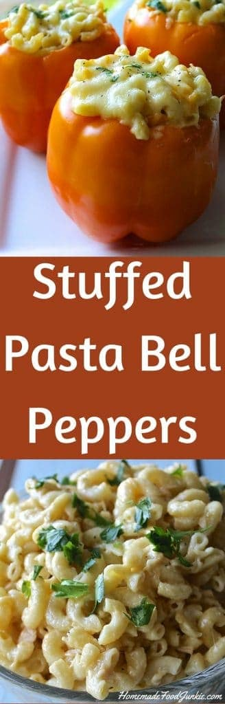 Stuffed Pasta Bell Peppers  This recipe is so good! 5 cheese MacNCheese in Bell peppers!! http://HomemadeFoodjunkie.com