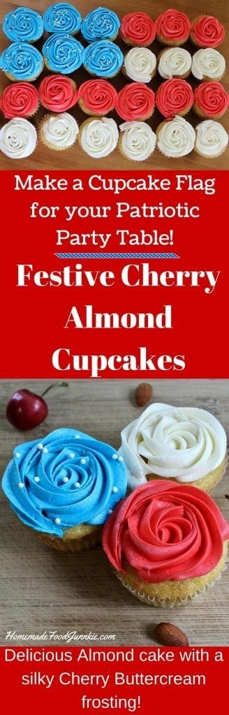 Festive Cherry Almond Cupcakes. A delicious almond cupcake topped with a silky cherry buttercream frosting! http://HomemadeFoodJunkie.com
