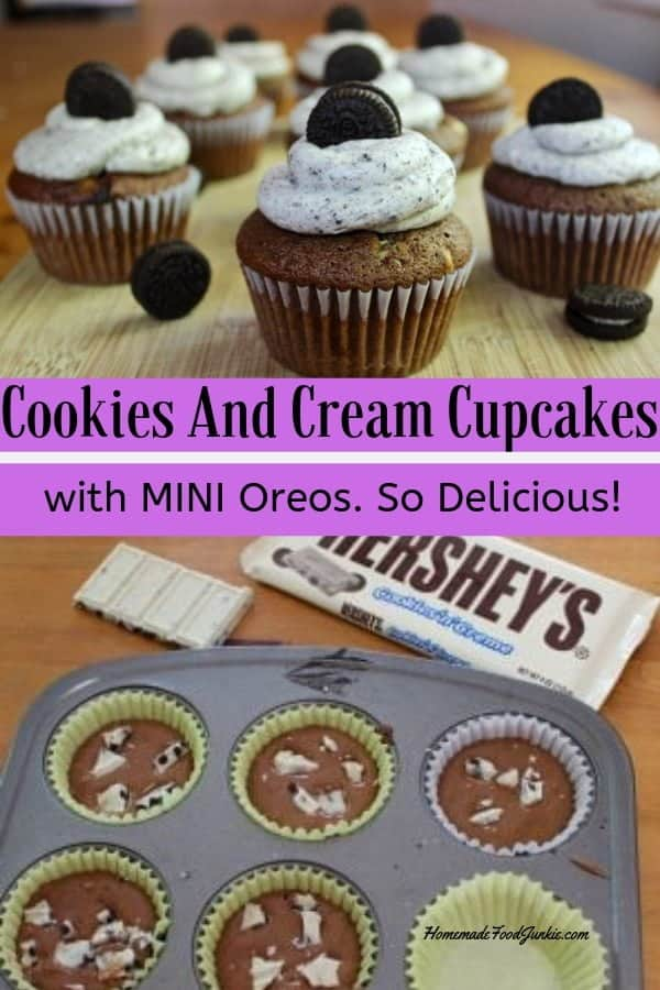 Cookies And Cream Cupcakes with real candy and Oreos! #candycupcakes #cupcakerecipes #desserts #dessertrecipes #desserttable #partyood #cookierecipes