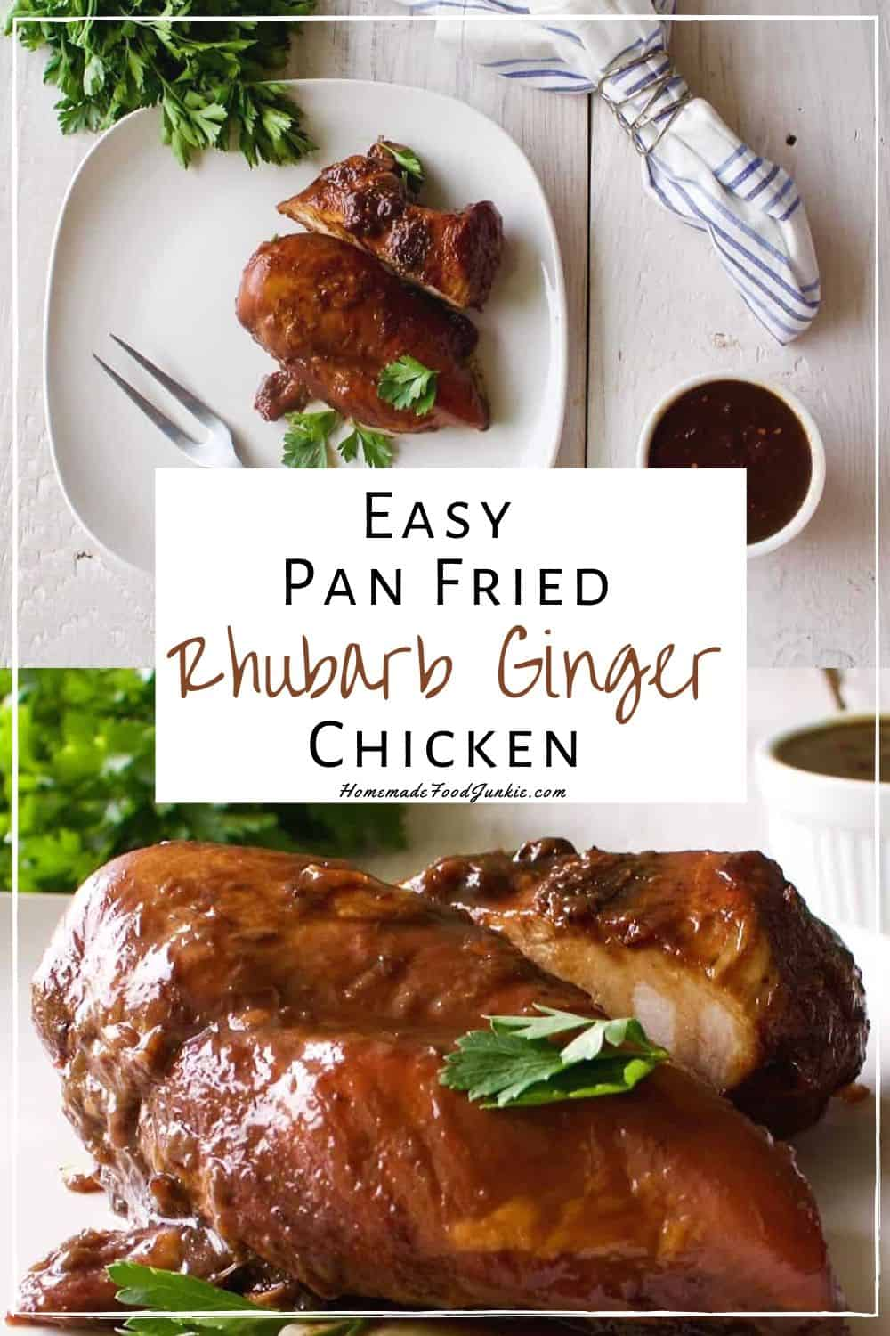 Easy pan fried rhubarb chicken-pin image