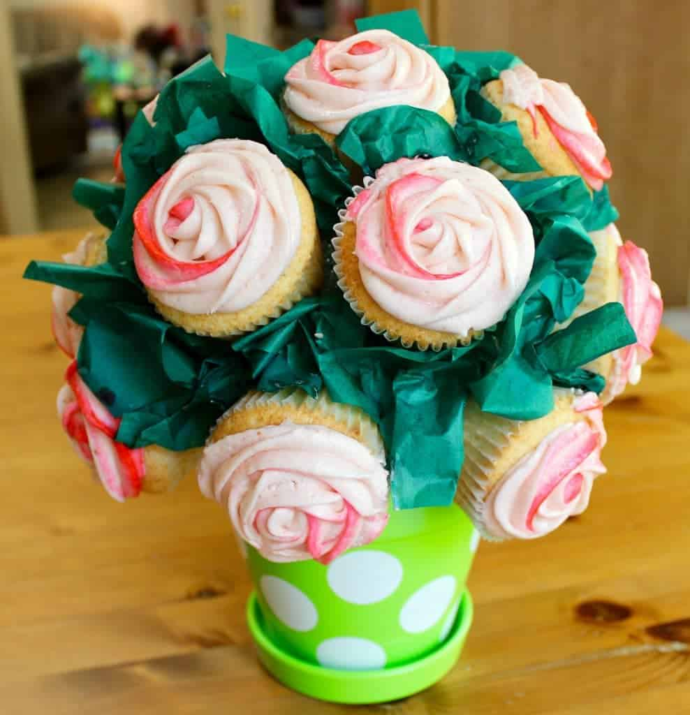 Moscato Cupcakes with Strawberry Frosting Cupcake Bouquet