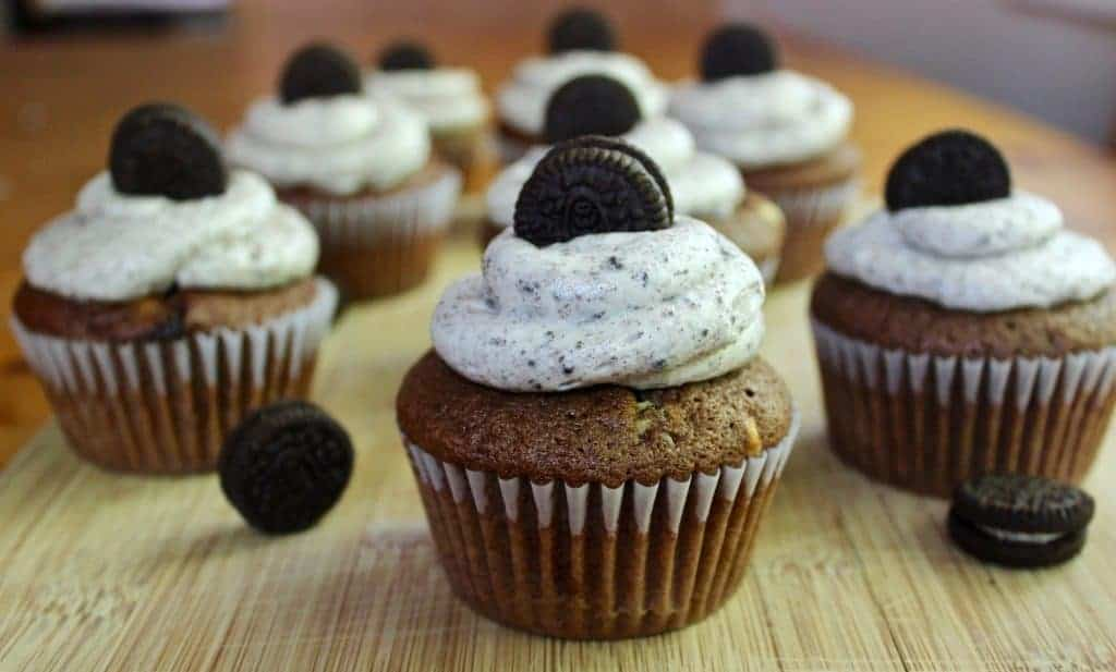 Cookies And Cream Cupcakes Frosted And Decorated With A Mini Oreo Cookies.