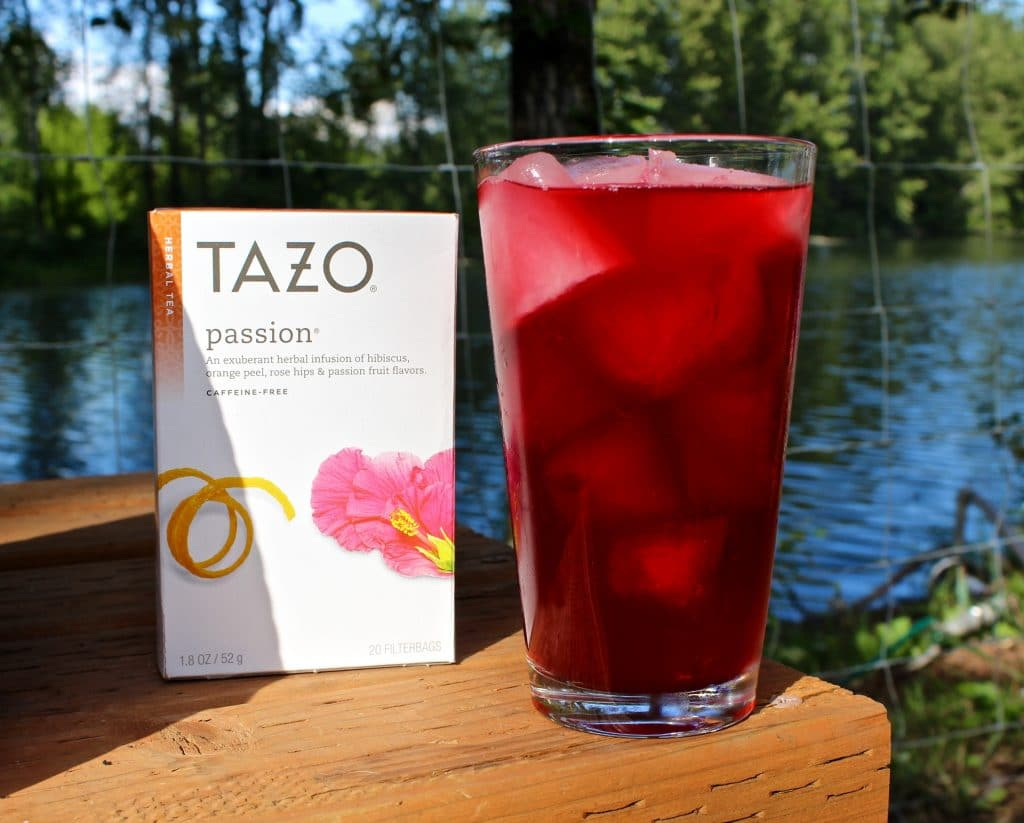 Passion fruit iced tea with lemonade mixed in to deliver a fresh drink ...
