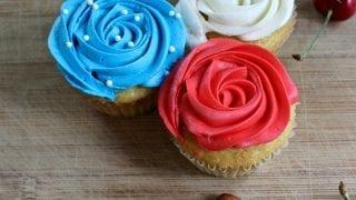 Festive Cherry Almond Cupcakes