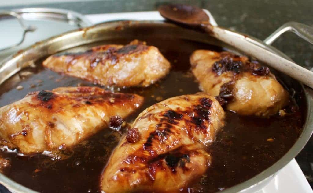 Pan Fried Rhubarb Chicken is an easy, flavorful chicken dinner by www.homemadefoodjunkie.com