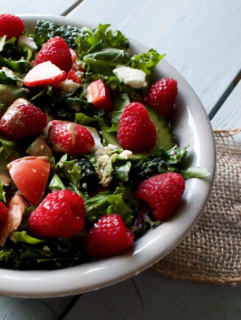 Spring Garden Berry salad with Creamy Balsamic Salad Dressing http://HomemadeFoodJunkie.com