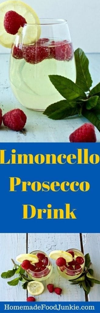 Limoncello Prosecco with fresh raspberries by http://HomemadeFoodJunkie.com