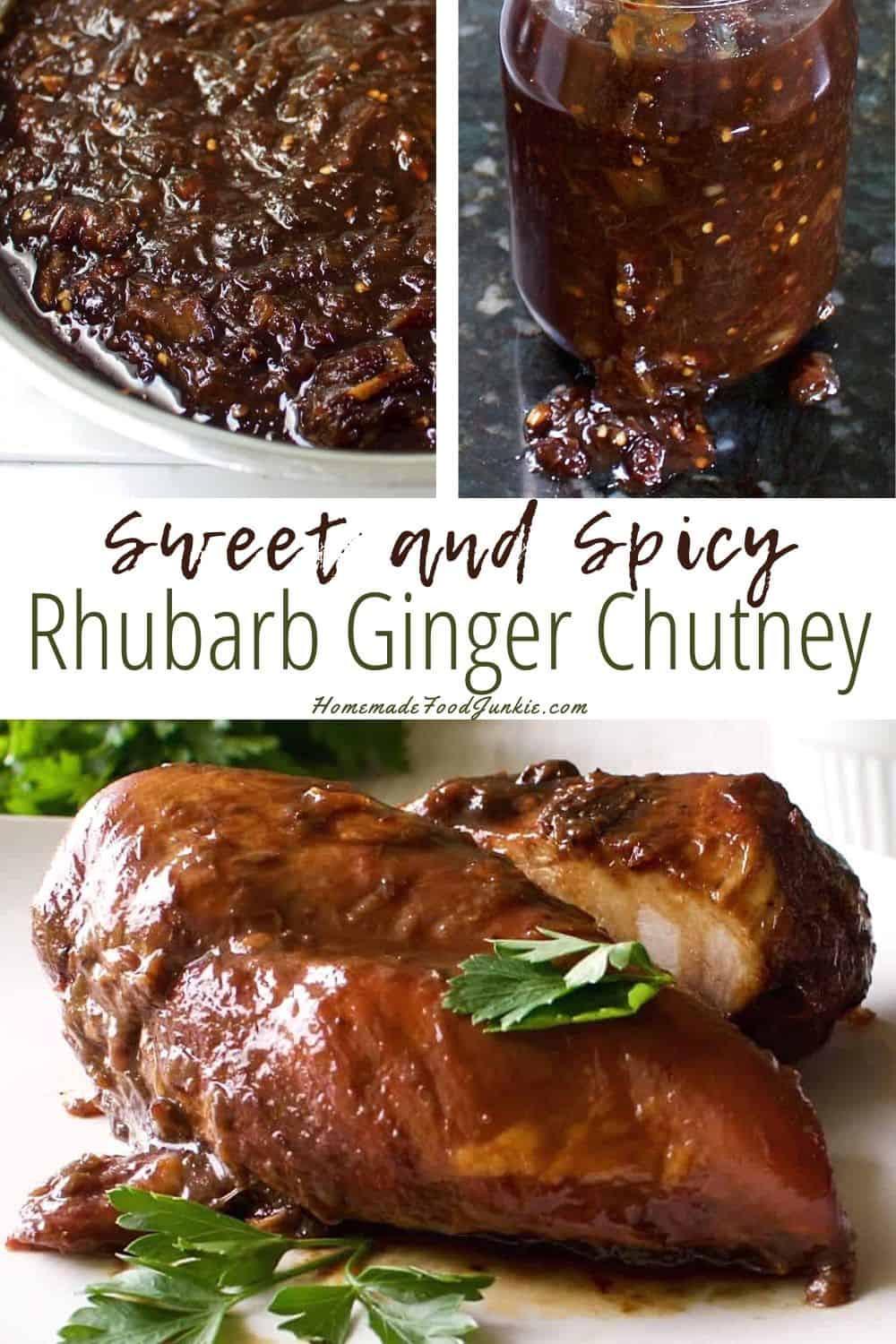 Sweet and spicy rhubarb ginger chutney-pin image