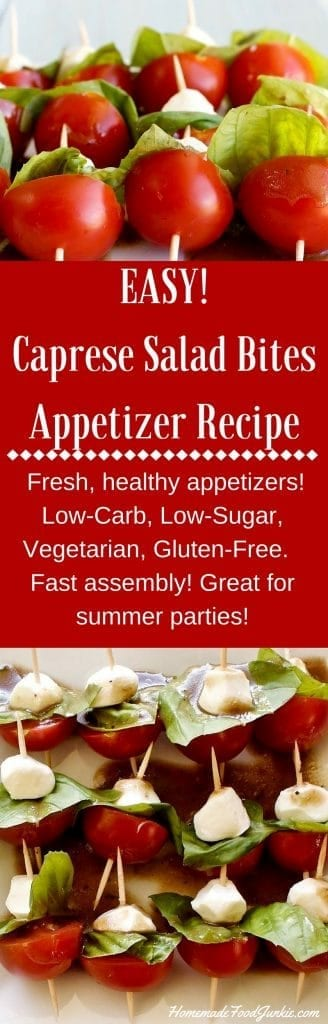 Caprese Salad Bites Appetizer Recipe works great for outdoor parties. Food Safe for warm party tables http://HomemadeFoodJunkie.com