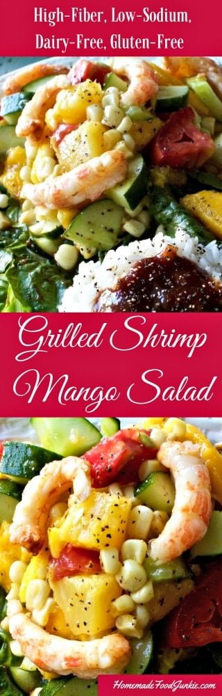 Grilled Shrimp Mango Salad is High-​Fiber, Low-​Sodium, Dairy-​Free, Gluten-​Free