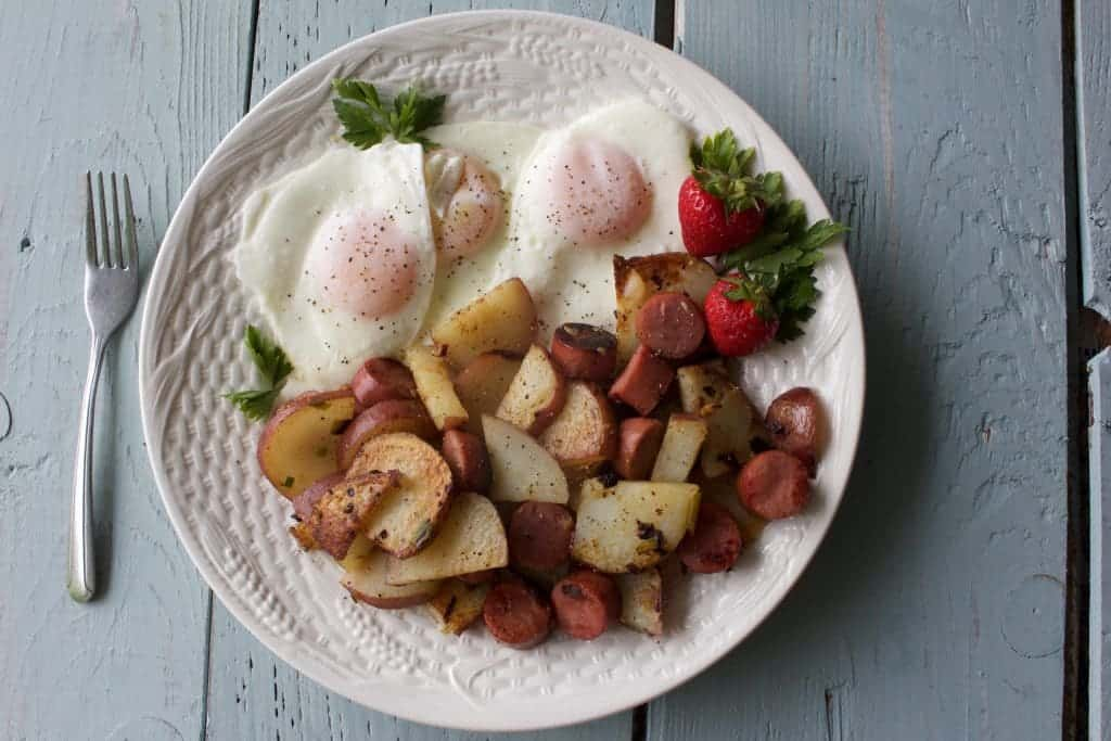 Fried potatoes and eggs over easy