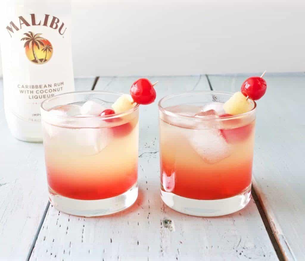 Malibu Sunset Cocktail Mixed Drink Recipe