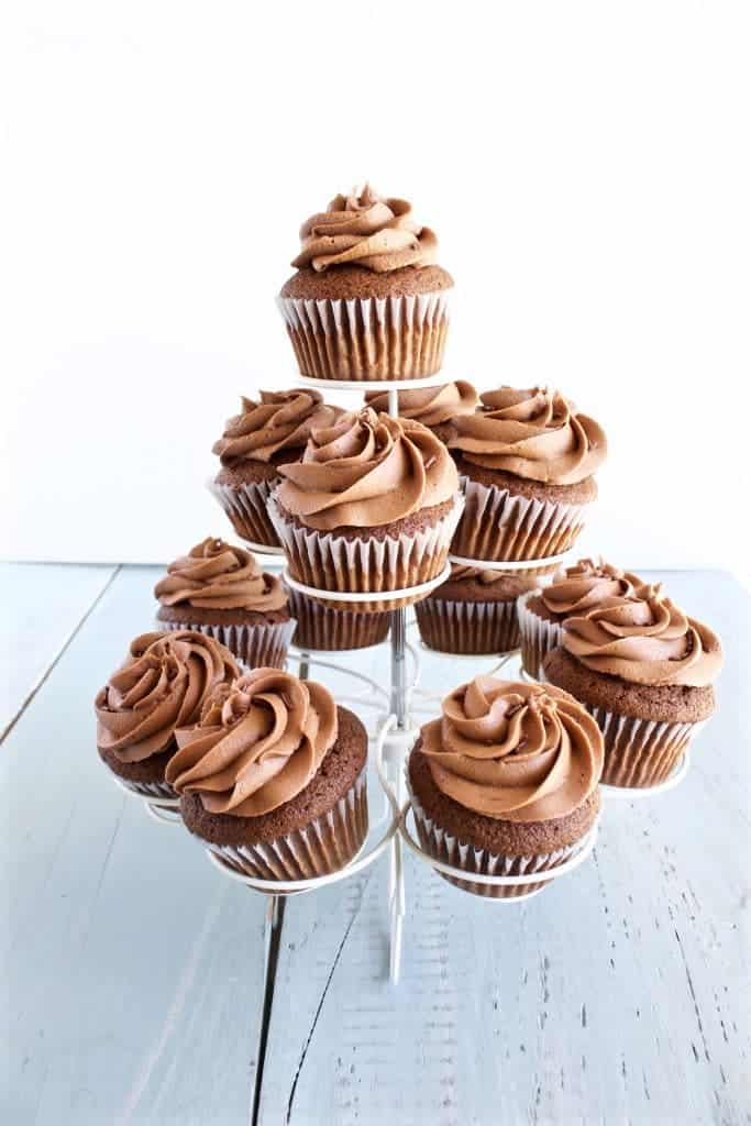 Chocolate Nutella Cupcakes made entirely from scratch by http://homemadeFoodJunkie.com