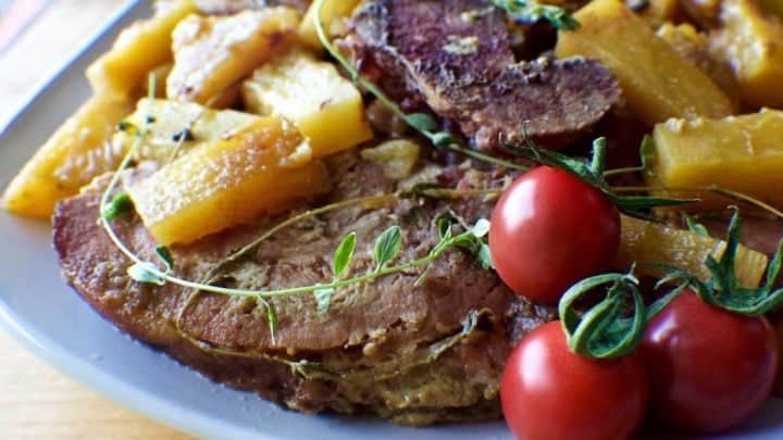 Slow Cooker Pineapple Ham Steaks with Mustard Sauce