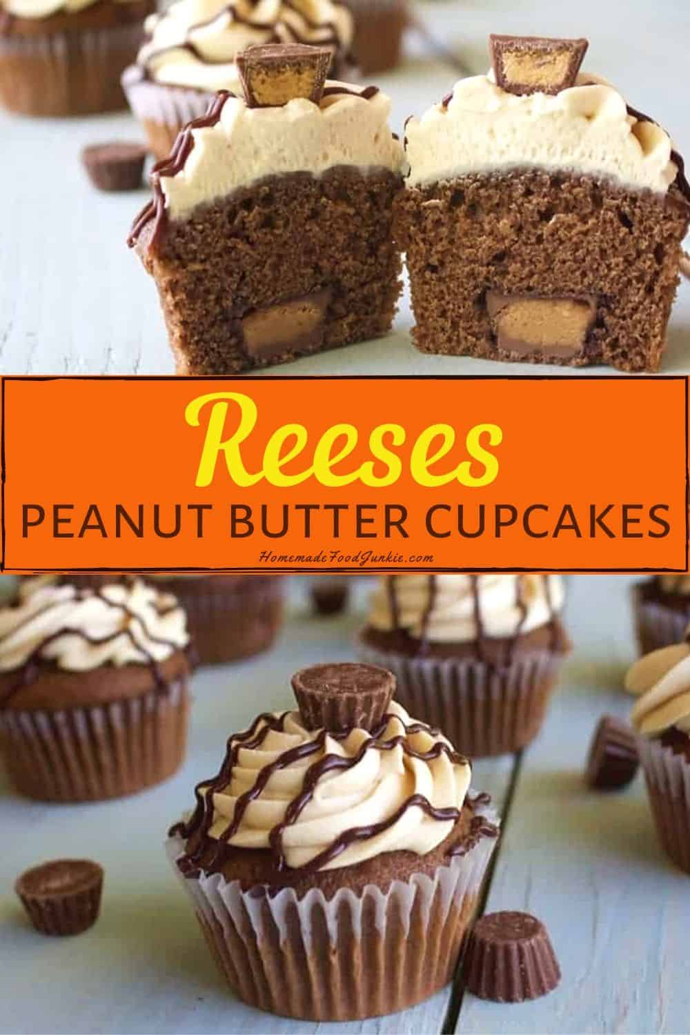 Reeses peanut butter cupcakes-pin image