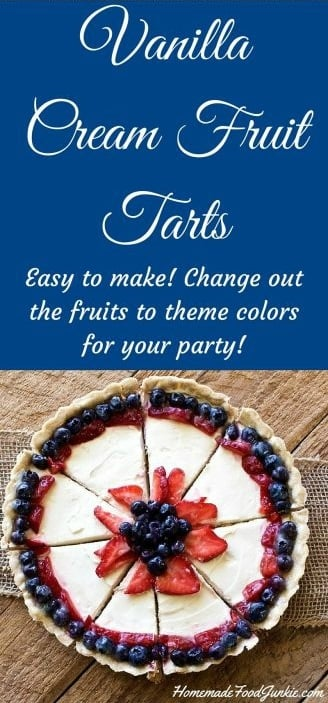 Vanilla Cream Fruit Tarts. This recipe Makes two festive vanilla cream fruit tarts (OR a 12 inch fruit pizza) for a fun addition to the party table. This is an easy make ahead dessert that holds up well on a party table and people love them. #holidayrecipe #vanillacreamrecipe #fruittart #fruitpizza #Easydessert #makeaheaddessert #partyfood #desserttable