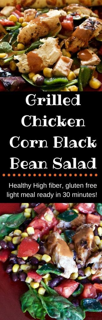 Grilled Chicken Corn Black Bean Salad high fiber, gluten free quick and easy meal. http://HomemadefoodJunkie.com