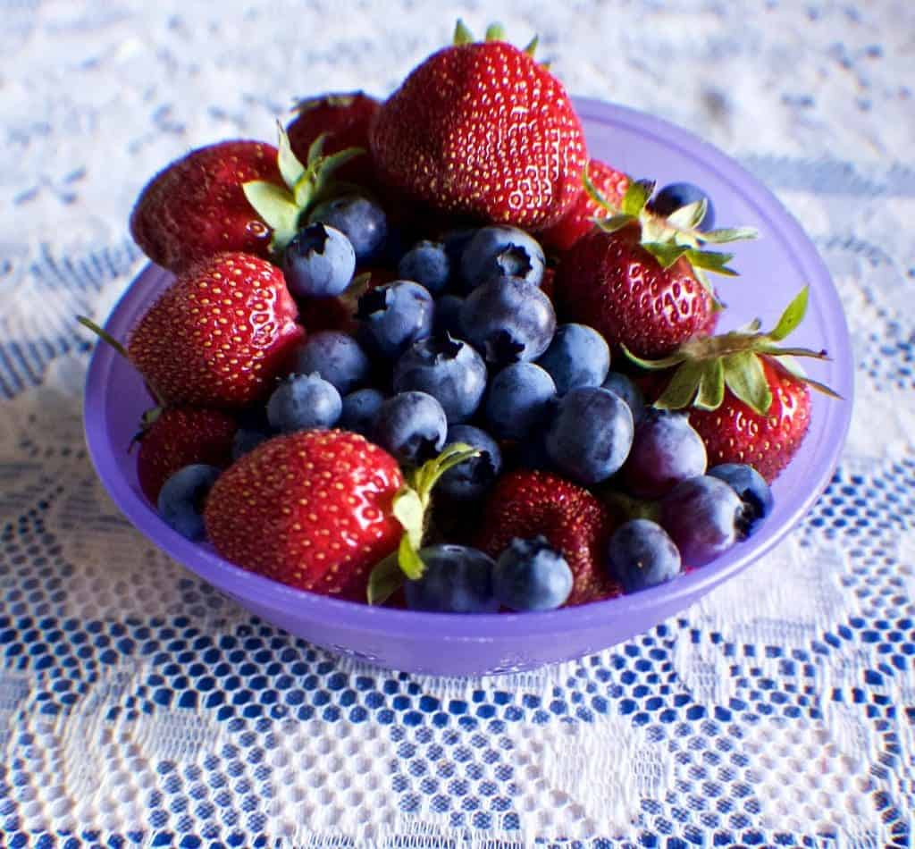 homegrown strawberries and blueberries 2015