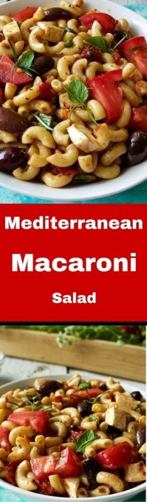 Mediterranean Macaroni Salad. Healthy fats and delicious Italian flavors fuse into Mediterranean Macaroni Salad for a delightfully healthy twist on an old American favorite! Enjoy!