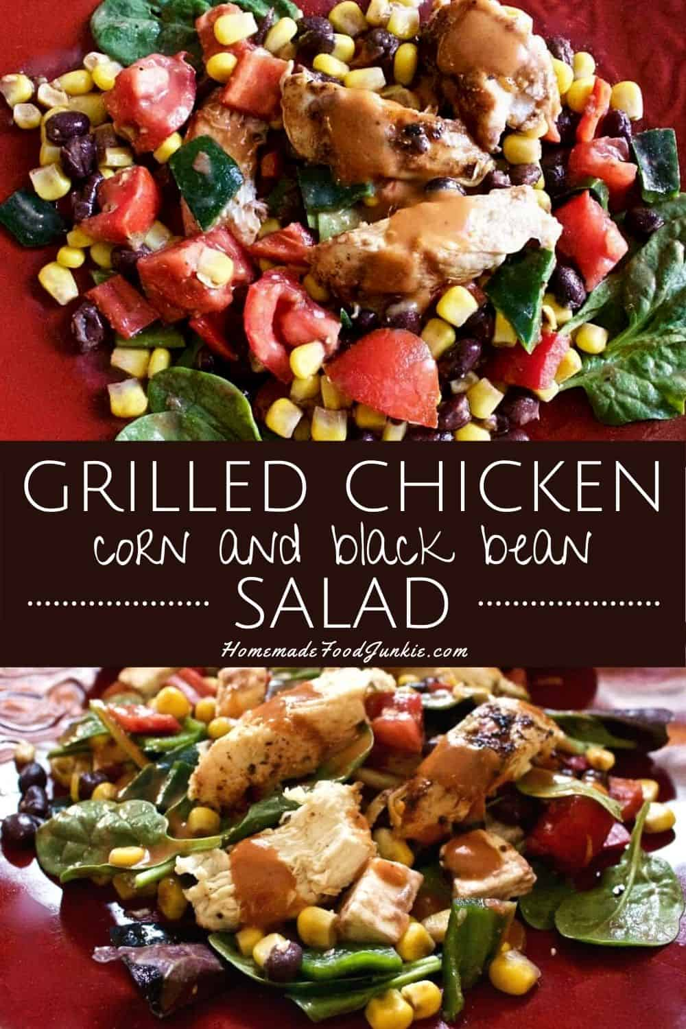 grilled chicken corn and black bean salad-pin image