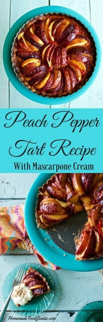 Peach pepper tart with Mascarpone Cream fills your mouth with a pleasing combination of sweet and spice. This makes a fun and tasty harvest treat #tart #peach #pepper #recipe #fallrecipe #harvestrecipe #dessert #desserttable