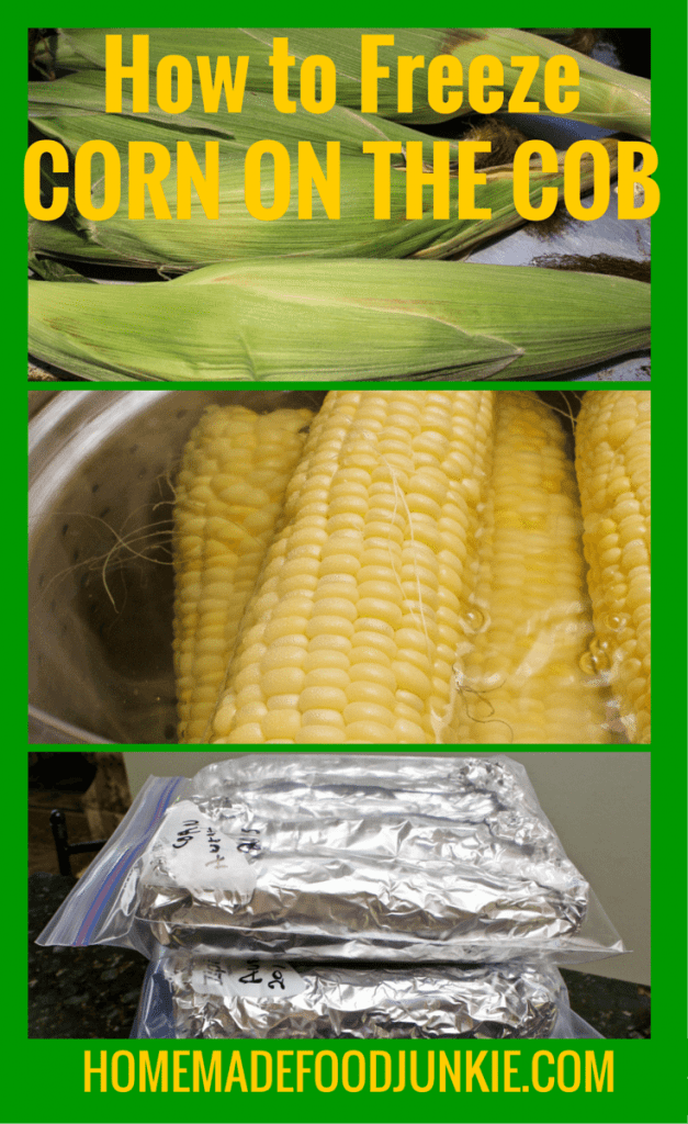 Freezing corn on the cob can be done easily for short term freezer storage. Here is how I'm freezing mine this year! #foodpreserving #freezingcorn #corn http://Homemadefoodjunkie.com
