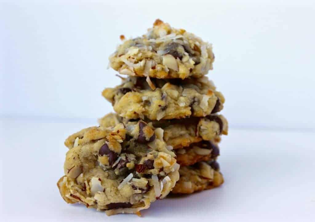 Delicious Almond Joy cookies made with coconut, chocolate, and almonds. They taste like the popular candy bar Almond Joy's, absolutely scrumptious! http://HomemadeFoodjunkie.com