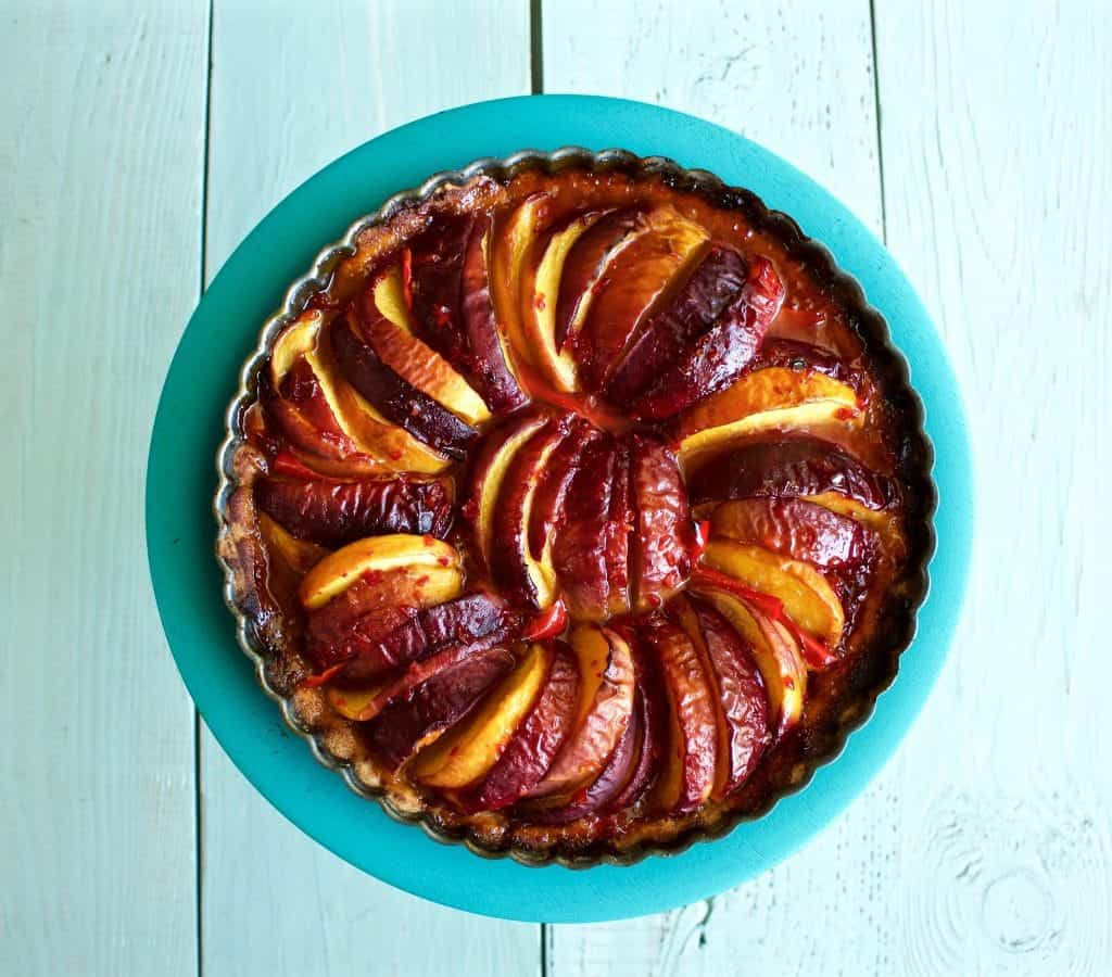 Peach Pepper Tart with Mascarpone Cream