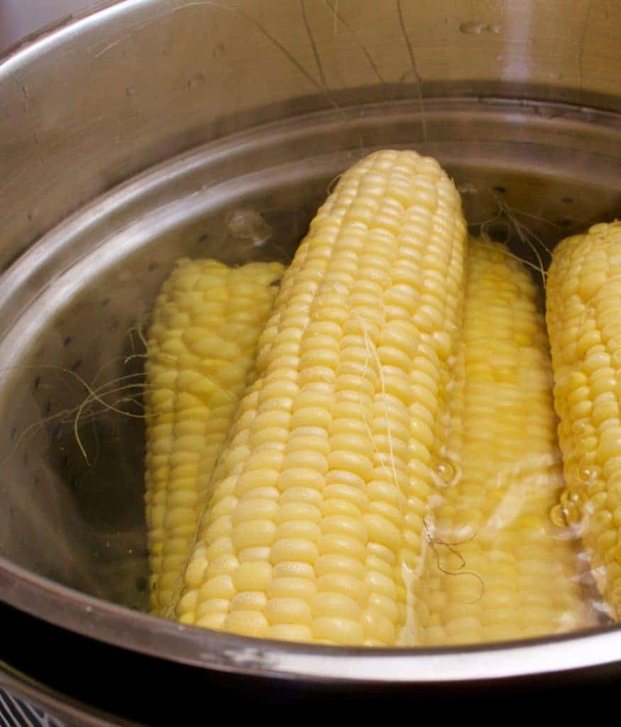 Blanch Corn on the Cob for freezing out of the husk,for longer term freezer storage. http://Homemadefoodjunkie.com