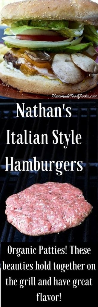 Nathan's Italian Style Hamburgers  Homemade hamburger patties with low fat parmesan cheese blend and chock full of Italian seasoning and Panko bread crumbs for a beautiful take on America's Iconic Burger!   http://HomemadeFoodjunkie.com