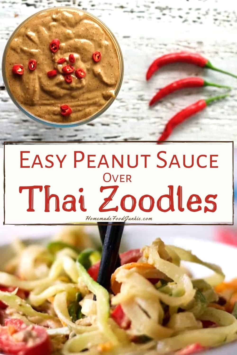 Easy peanut sauce over Thai noodles-pin image
