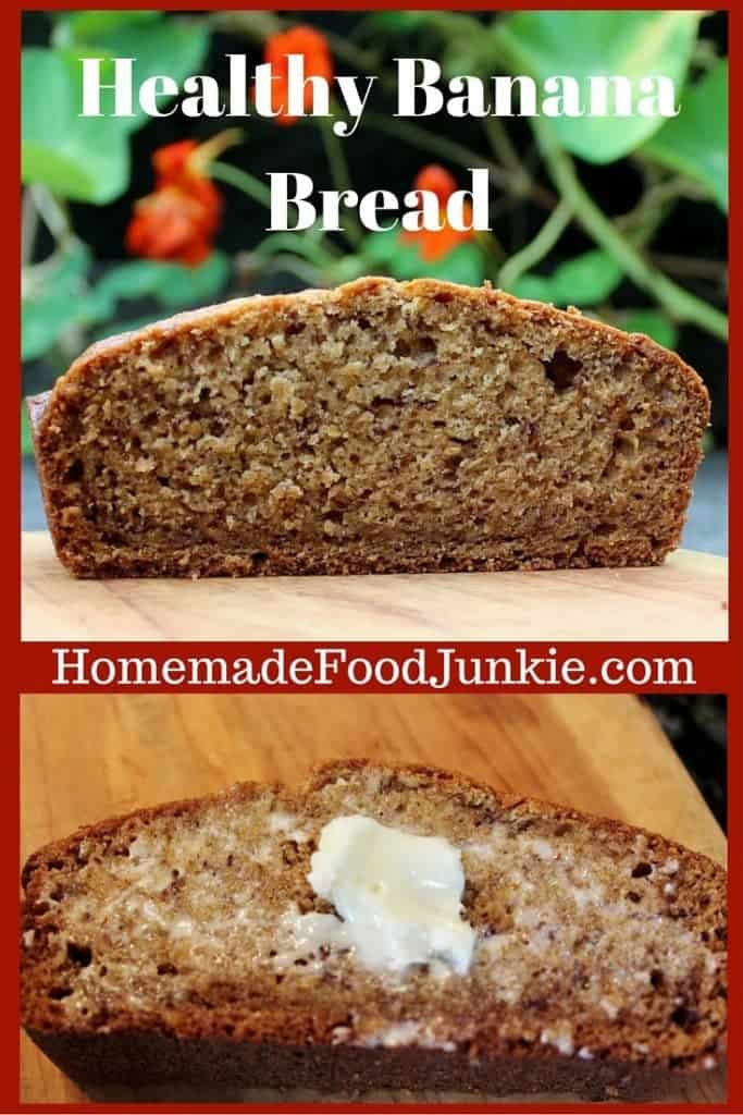 Healthy Banana Bread Recipe! This banana bread is sweetened with maple syrup. No processed sugar! http://HomemadeFoodJunkie.com
