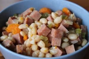 Delicious and filling navy bean and ham soup, this hearty soup is the perfect dinner option for a quick and easy meal.