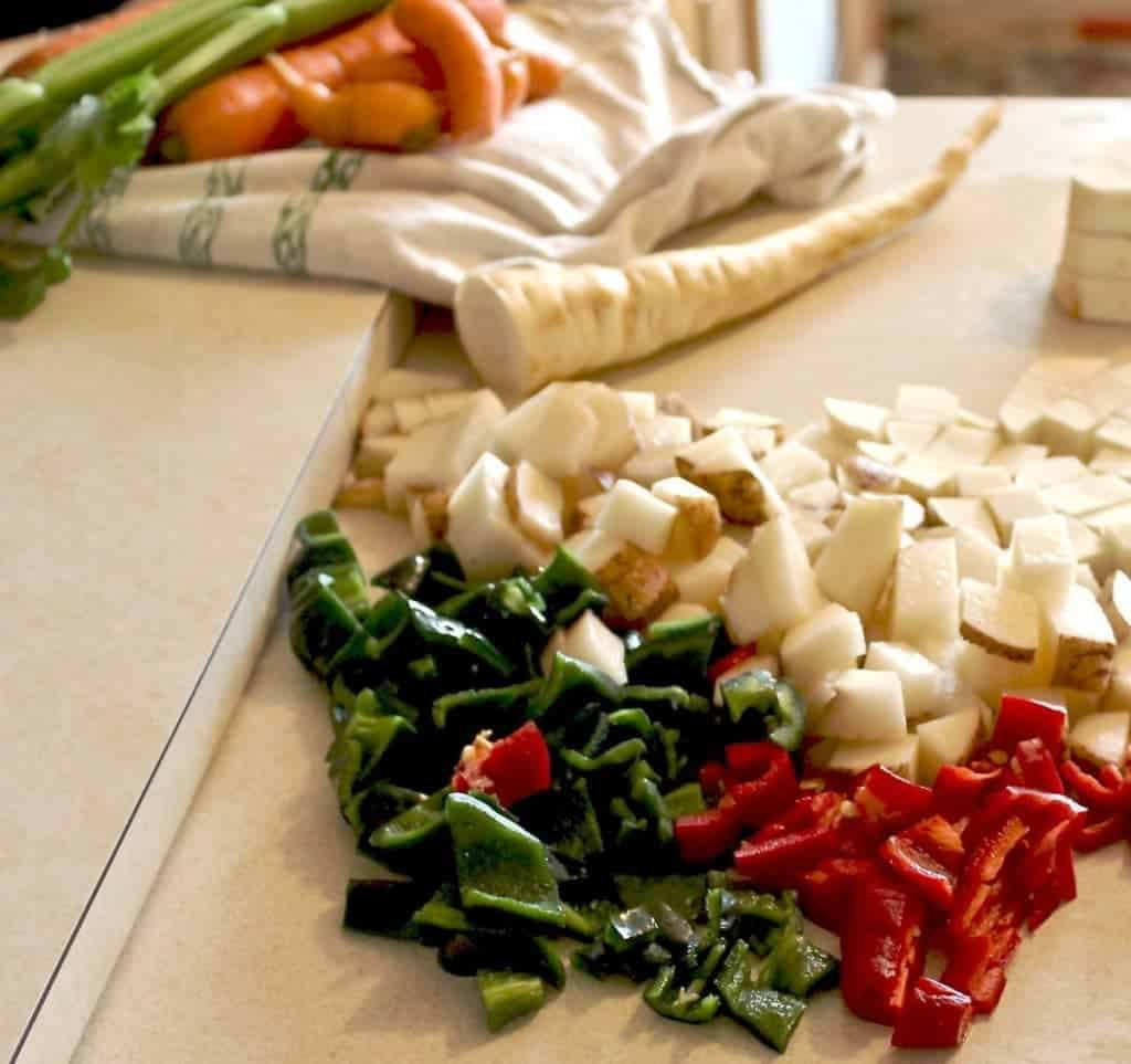Chopped garden veggies