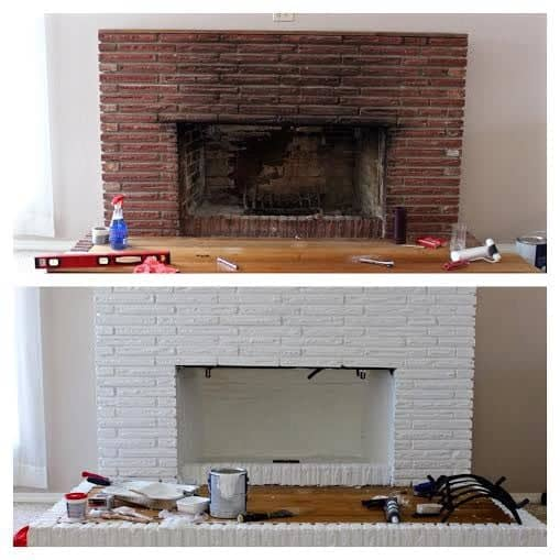 This week we are turning the red brick into a beautiful white brick fireplace!